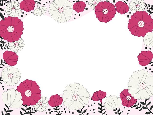 Flores de vetor com folhas decoradas com fundo de borda