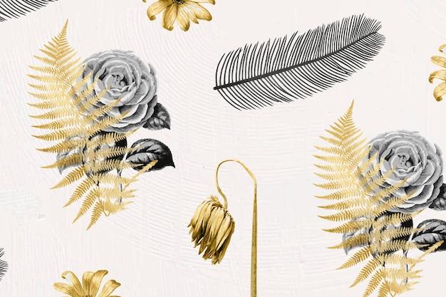 Flores de vetor e folha de ouro metálico desenhado à mão padrão botânico