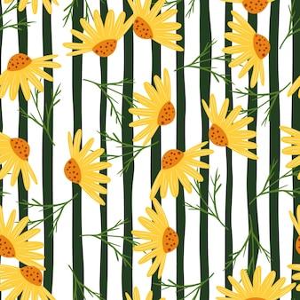 Flores decorativas de camomila laranja e aleatórias moldam o padrão sem emenda