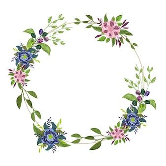 Flores delicadas na borda do círculo da decoração da natureza, pintura da ilustração