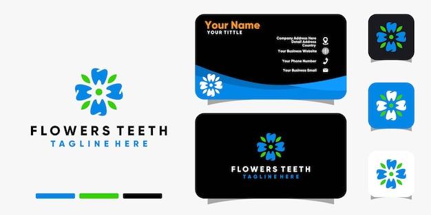 Flores dentes logotipo folha natureza e modelo de vetor de design de cartão de visita