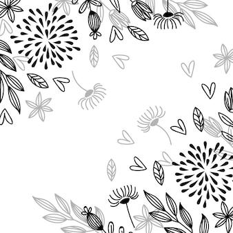Flores desenhadas à mão arte em linha
