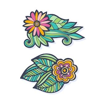 Flores desenhadas à mão do vetor criativo