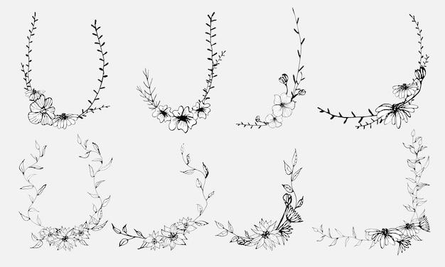 Flores desenhadas à mão