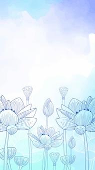 Flores desenhadas mão aquarela papel de parede móvel