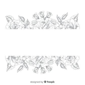 Flores desenhadas mão realista com banner em branco