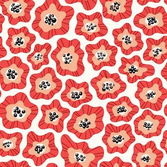 Flores desenhadas padrão de cor sem costura