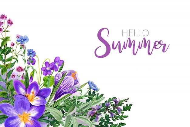 Flores do campo em aquarela, matizes violetas brilhantes, moldura de canto