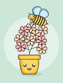 Flores do jardim planta em vaso com abelha voando estilo kawaii