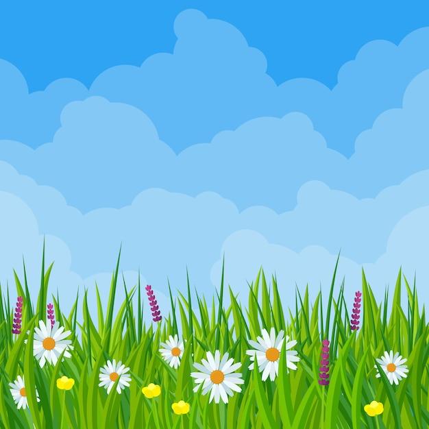 Flores do prado primavera em ilustração de design plano