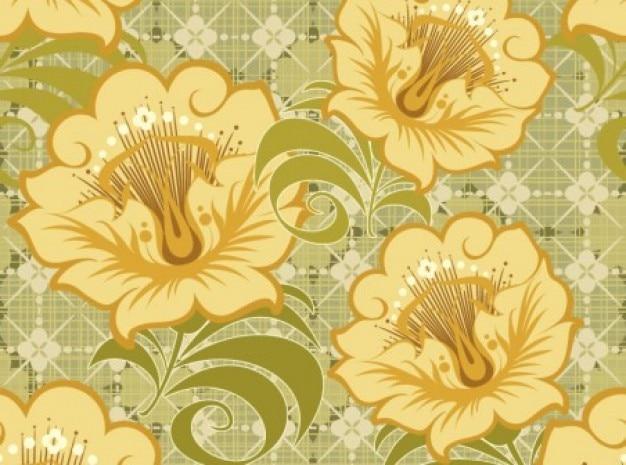 Flores do vintage de cor amarela do fundo da cor verde