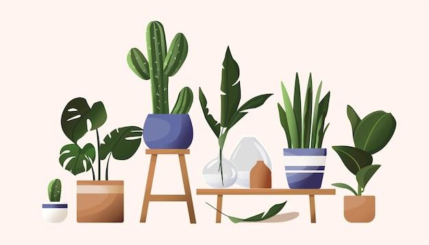 Flores domésticas em vasos. bela ilustração em estilo escandinavo. folhas tropicais, vasos, vasos, estande de flores. desenho em estilo simples de desenho animado