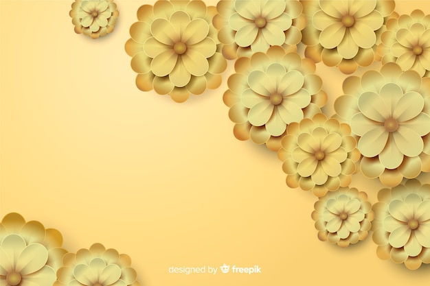 Flores douradas em fundo 3d
