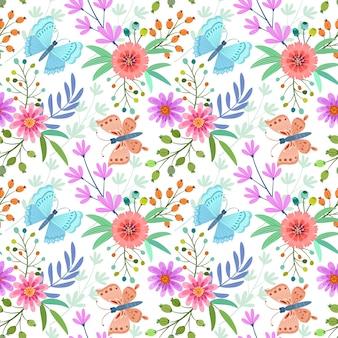Flores e borboleta padrão sem emenda.
