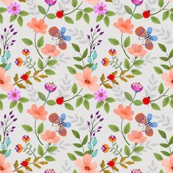Flores e borboleta padrão sem emenda