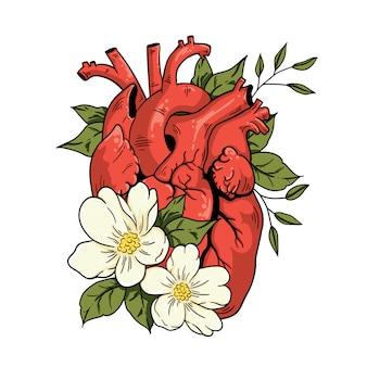 Flores e coração de ilustração vetorial