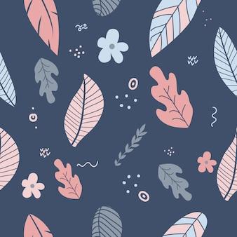 Flores e cores pastel da mola bonita da folha. padrão floral