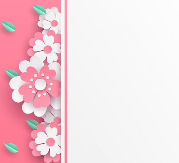 Flores e desenho de arte de papel de vector de fundo de folha verde