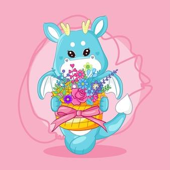 Flores e dragão bonito mão desenhada