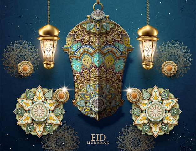 Flores e fanoos em arabescos de eid mubarak
