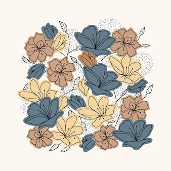 Flores e folhas abstratas com padrão floral natural e textura de formas de cor azul e marrom