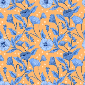 Flores e folhas azuis no padrão amarelo sem costura.