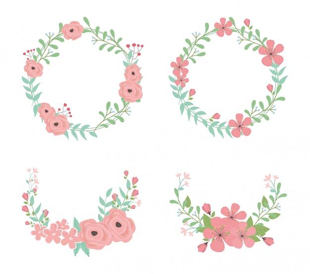 Flores e folhas de grinaldas e coroas decorações