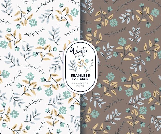 Flores e folhas de inverno lindos padrões sem emenda de fundo branco e marrom
