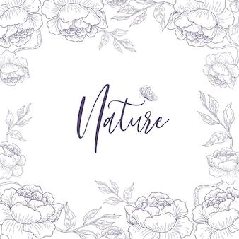 Flores e folhas de linha fundo de esboço desenhado de mão.