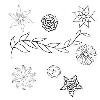 Flores e folhas de primavera desenhadas à mão conjunto de ícones ilustração vetorial design