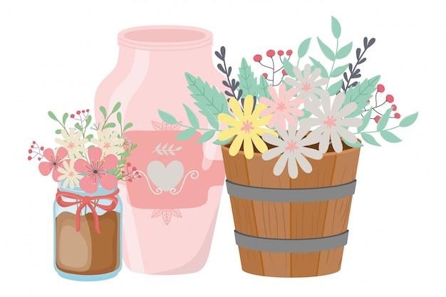 Flores e folhas dentro de vasos