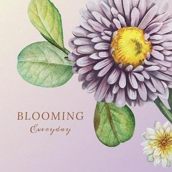 Flores e folhas desenhadas à mão com cotação diária