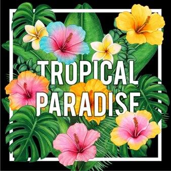 Flores e folhas do paraíso tropical