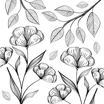 Flores e folhas escritas à mão