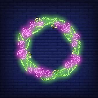 Flores e folhas grinalda sinal de néon