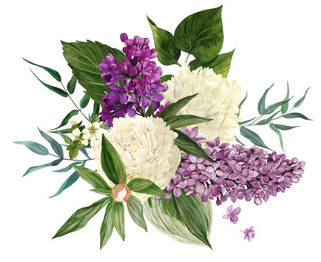 Flores e folhas lilases em aquarela
