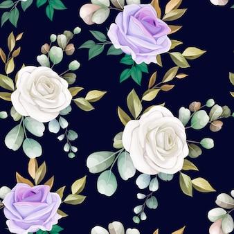 Flores e folhas lindas sem costura padrão