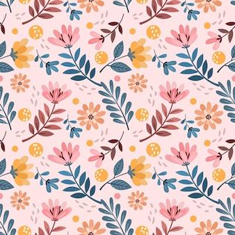 Flores e folhas no padrão sem emenda de cor vintage.