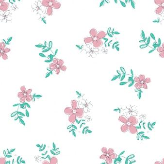 Flores e folhas padrão sem emenda
