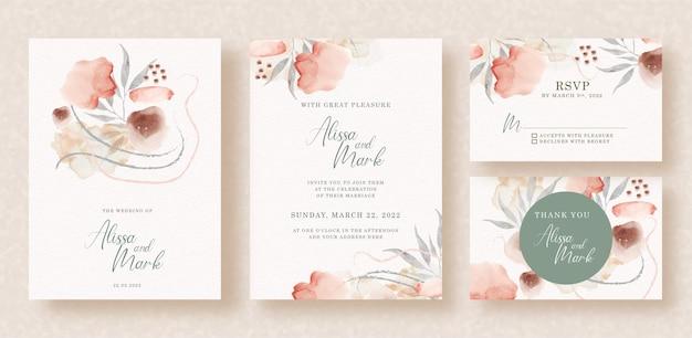 Flores e folhas pintadas em aquarela no convite de casamento