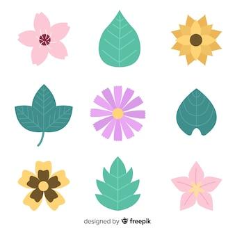 Flores e folhas planas