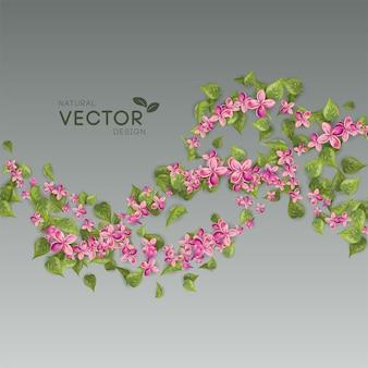 Flores e folhas rosa voando