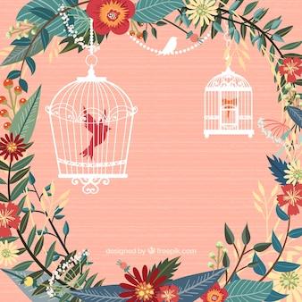 Flores e gaiolas de pássaros