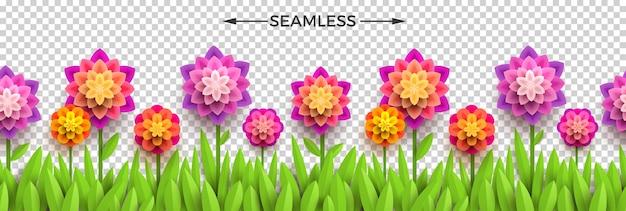 Flores e grama de papel falsas. design sem costura horizontal.