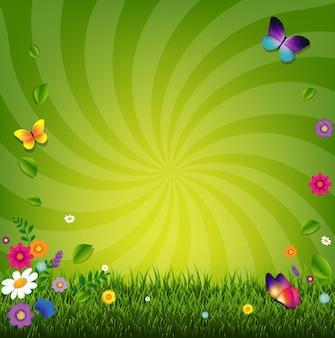 Flores e ilustração de grama