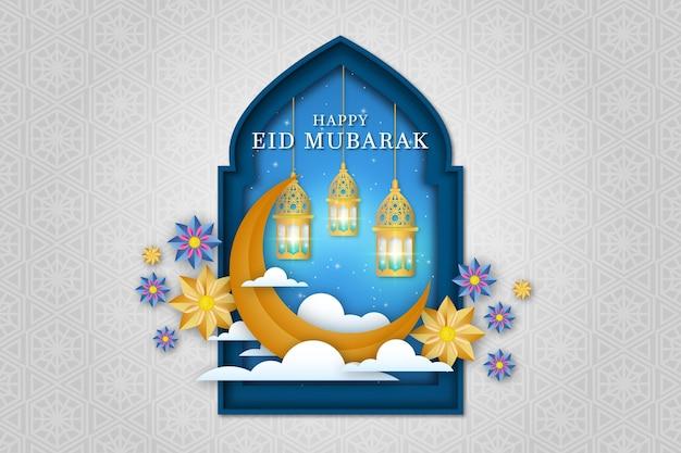 Flores e lua estilo de papel eid mubarak