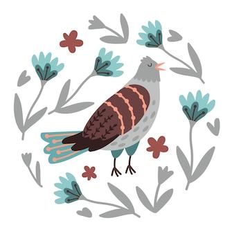 Flores e pássaros desenhados à mão. imagem de pássaro cantando bonito com elementos de primavera do jardim, ilustração vetorial de ave selvagem voando com asas em floração isolada no fundo branco