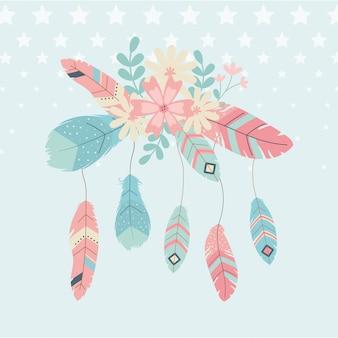 Flores e penas decoração estilo boho