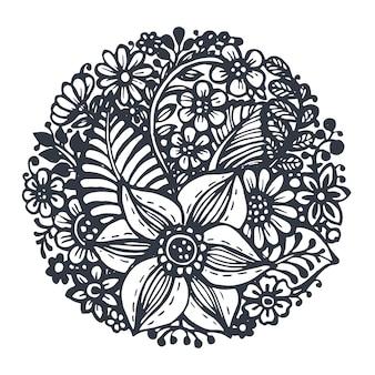 Flores e plantas em círculo isoladas em branco