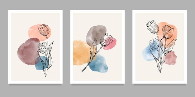 Flores e plantas na parede arte no conjunto. criativo minimalista pintado à mão. elementos geométricos abstratos. com formas diferentes para impressão de arte, capa, papel de parede